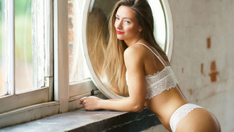 women, white lingerie, red lipstick, blonde, ass, window, mirror, reflection, smiling, brunette, portrait