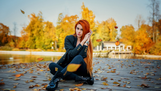 women, ana ounty, redhead, sitting, long hair, leaves, black clothing, wooden surface, women outdoors