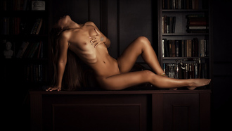 women, nude, books, ribs, belly, sitting, boobs, nipples, long hair
