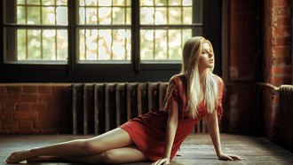 women, polka dots, window, blonde, elena erner, sitting, on the floor, red dress, bricks, portrait