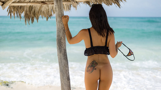 women, ass, sea, tanned, back, the gap, tattoo, undressing, women outdoors, swimwear, tan lines