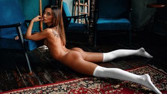 women, nude, white stockings, tattoo, boobs, tanned, mirror, reflection, on the floor, finger on lips, ass