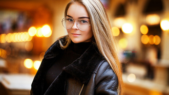 women, blonde, portrait, bokeh, women with glasses, coats, blue eyes