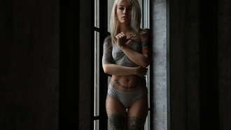 asha rink, women, portrait, blonde, tattoo, pierced navel, belly, window, the gap, underwear, nipples through clothing, brunette