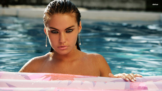 fasterova, veronika, eyes, pool, sexy