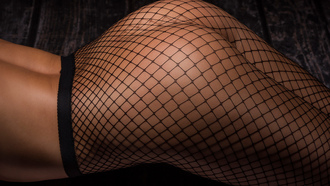 women, ack ussell, ass, fishnet stockings, tanned