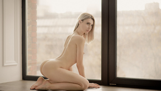 women, blonde, nude, ass, window, boobs, nipples, pale, window sill, arched back, kneeling
