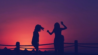 girls, sunset, silhouettes