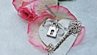 love, rose, heart, winter, snow, key, romantic, petals, lock