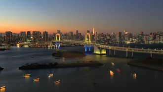 okyo, apan, twilight, bridge, sunset, dusk, ainbow ridge