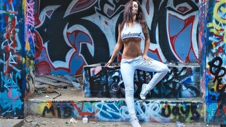 graffiti, граффити, уличное искусство, street art, girl, tattoo, tits, hair, legs, tease, sexy, perfect body