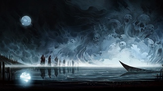 moon, death, skull, warrior, people, lake, boat