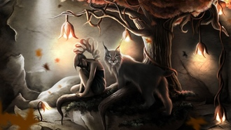 lynx, girl, tree, roots, cave, light, lights, fantasy