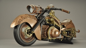 drawn, motorcycle, steampunk