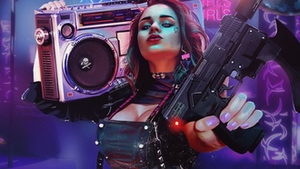 cyberpunk, girl, artwork