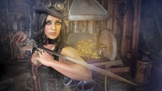 steampunk, girl, with, sword