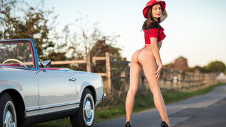 women, ass, road, women with cars, crop top, high heels, women outdoors, looking at viewer, smiling, red lipstick, hat