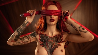 women, whips, piercing nipples, redhead, tattoo, red lipstick, armpits, boobs, nipples, painted nails