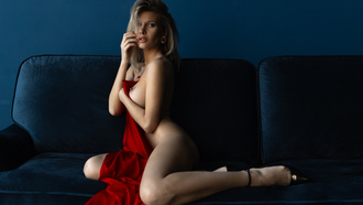 women, blonde, nude, red nails, ass, high heels, brunette, couch, sitting, boobs, nipples, wall