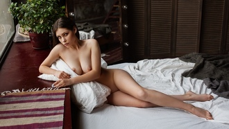 women, nude, boobs, nipples, plants, in bed, sitting, painted nails, window, mirror, light bulb
