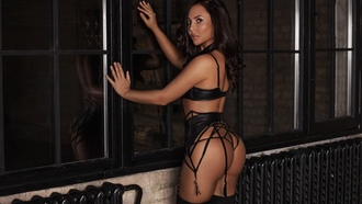 women, tanned, black lingerie, ass, window, reflection, garter belt, kneehighs, black stockings
