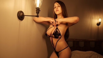 women, black lingerie, lamp, bed, long hair, big boobs, brunette, wall