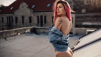 women, pink hair, ass, tattoo, denim, panties, women outdoors, dyed hair, rooftops, bare shoulders, looking away