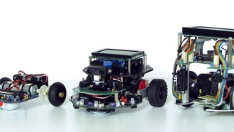 obots, built from, robotic kits, rom left suro