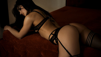women, oma hernotitckiy, ass, garter belt, brunette, black lingerie, black hair