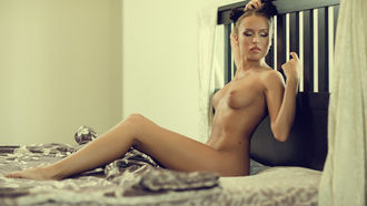 women, hairbun, nude, sitting, boobs, nipples, closed eyes, belly, in bed, brunette, necklace