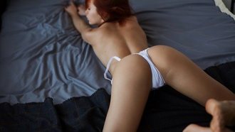 women, redhead, white lingerie, ass, in bed, bottom up, white panties, back, closed eyes