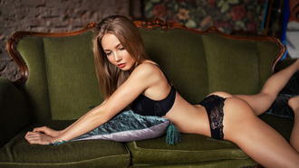 women, brunette, couch, black lingerie, lying on front, ass
