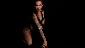 women, black lingerie, brunette, kneeling, black background, painted nails, tattoo