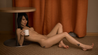 women, nude, table, boobs, nipples, tattoo, belly, cup, on the floor