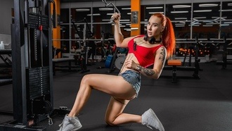 women, redhead, gyms, headphones, jean shorts, tank top, sneakers, tattoo