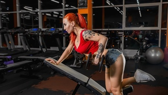 women, redhead, sneakers, ass, jean hsorts, gyms, dumbbells