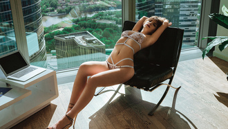 women, lingerie, belly, closed eyes, armpits, laptop, window, building, seethrough bra, brunette, plants