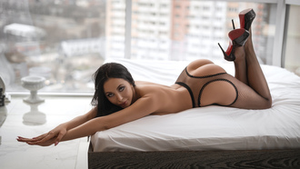 women, lying on front, in bed, ass, brunette, high heels, feet in the air, fishnet, window, pink nails, nude