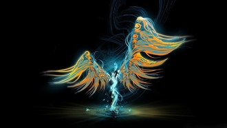 colors, abstract, wings, figure, ngel