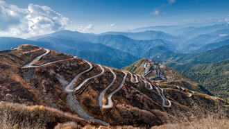 slope, road, curves, mountains