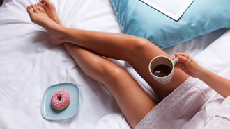 breakfast, coffee, bed, legs