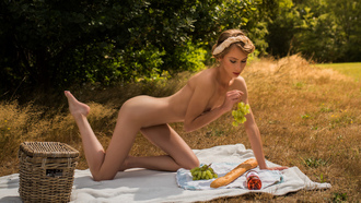 women, nude, brunette, kneeling, baskets, blankets, bread, grapes, women outdoors, boobs, nipples, bottles, ass, hair band, eyeliner, belly, red lipstick, closed eyes