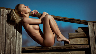 women, nude, blonde, ribs, closed eyes, boobs, nipples, ass, sky, women outdoors, painted nails, wood