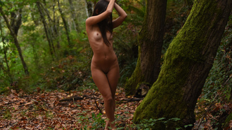 women, nude, trees, the gap, ribs, shaved pubic hair, tattoo, brunette, belly, leaves, women outdoors, boobs, nipples, armpits