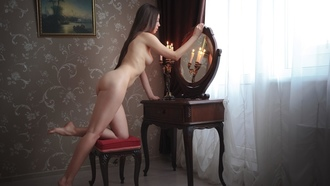 women, nude, ass, ribs, boobs, nipples, long hair, mirror, reflection, candles, wall, window