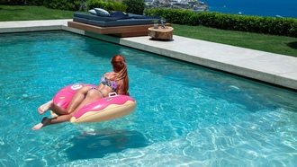 ass, redhead, swimming pool, brunette, sea, women outdoors, inflatable rings, sunglasses, bikini, wet body, water drops
