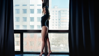 women, leotard, ass, brunette, window, curtains, looking away