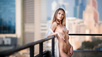 women, blonde, nude, belly, boobs, nipples, building, tattoo, balcony, cityscape, ribs, brunette, shaved pubic hair, necklace, looking away