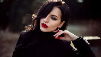 women, red lipstick, bokeh, eyeliner, face, portrait, coats, make up