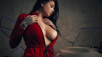 women, tattoo, boobs, big boobs, women with motorcycles